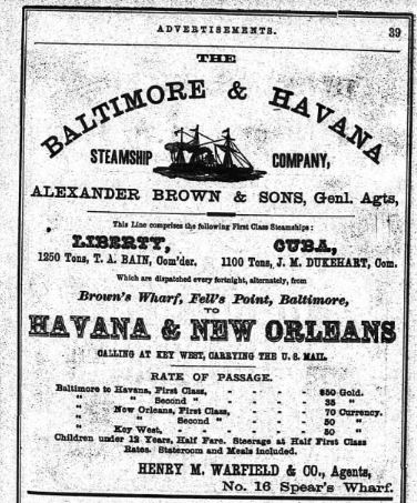 Baltimore and Havanna steamship company close up city directory 1863 pg. 39